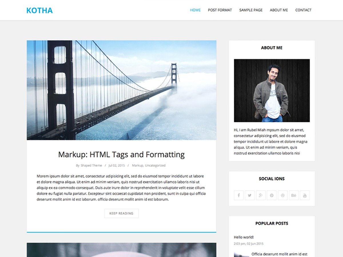 Kotha template WordPress free