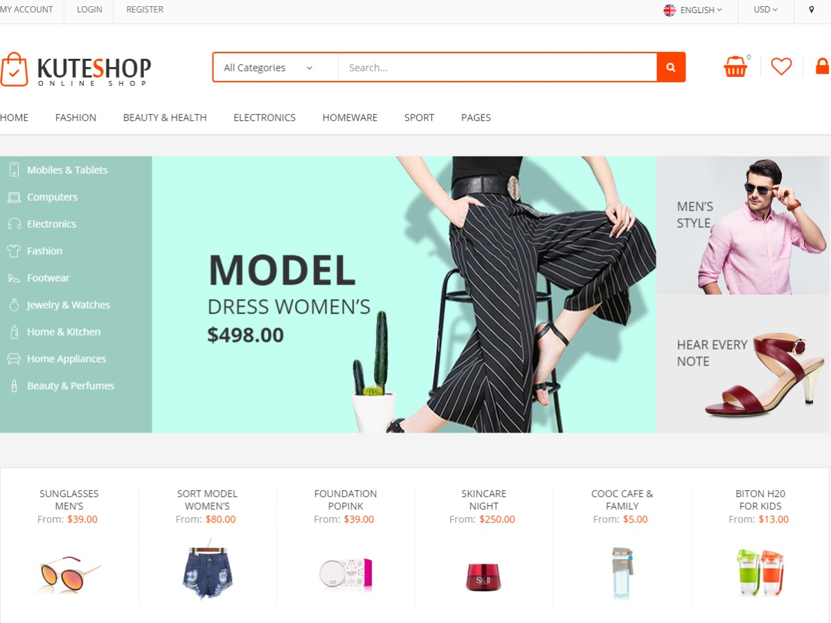 KuteShop WordPress store theme