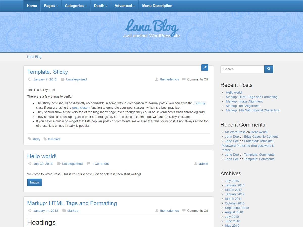 Lana Blog WordPress template free download