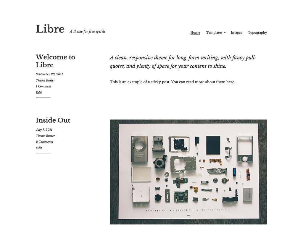 Libre WordPress blog theme