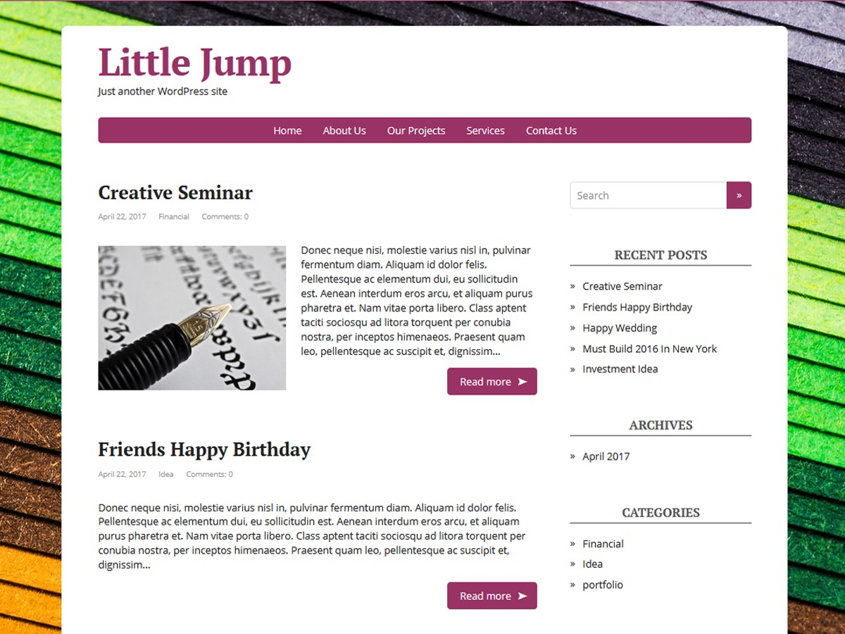 Little Jump template WordPress free