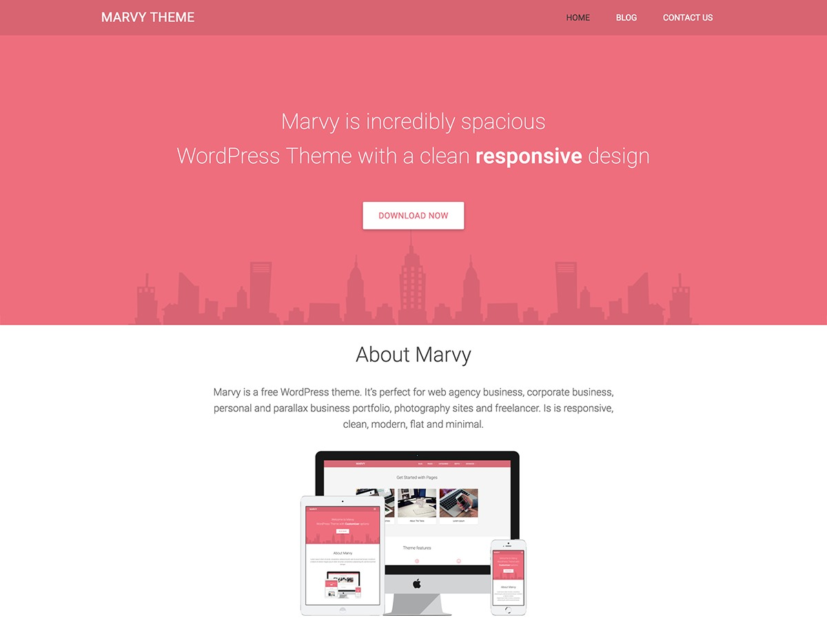 Marvy WordPress template free download