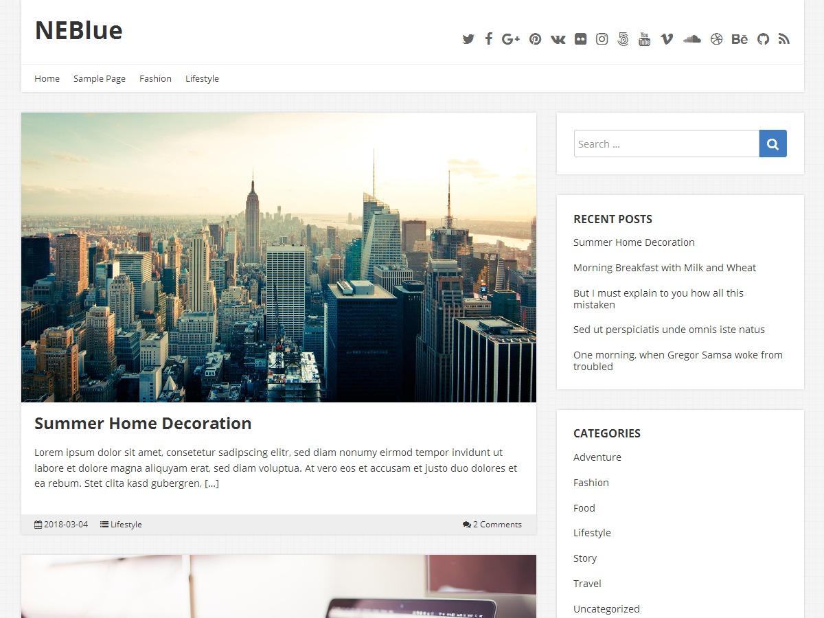 NEBlue WordPress blog template