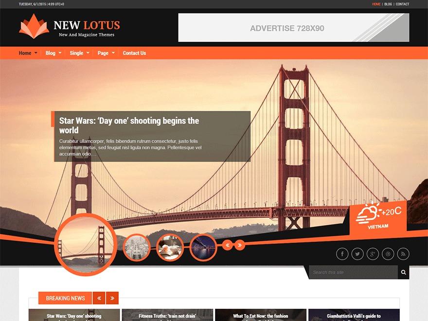 New Lotus WordPress news template
