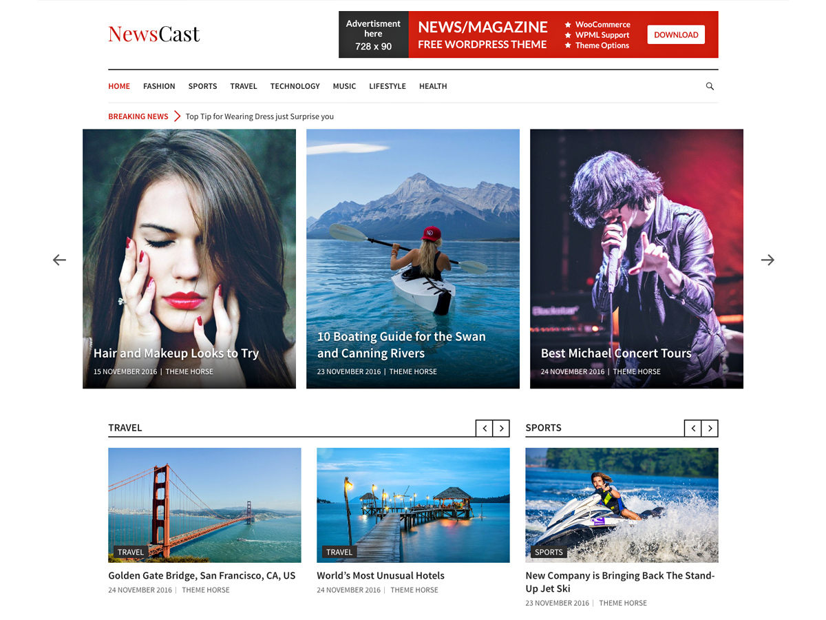 Newscast WordPress news template