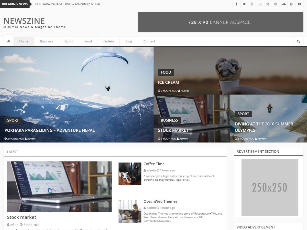 Newszine template WordPress free