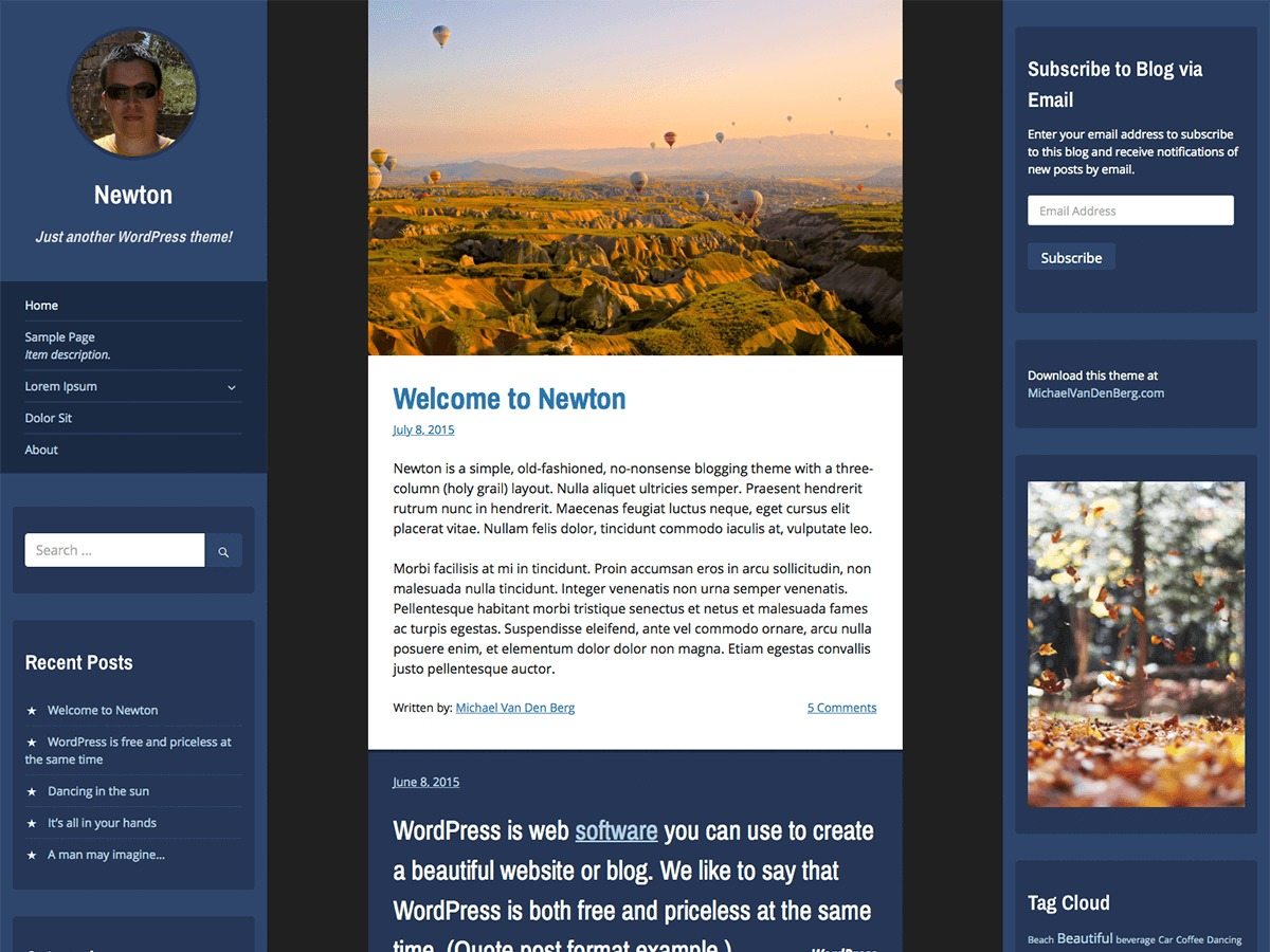 Newton template WordPress free