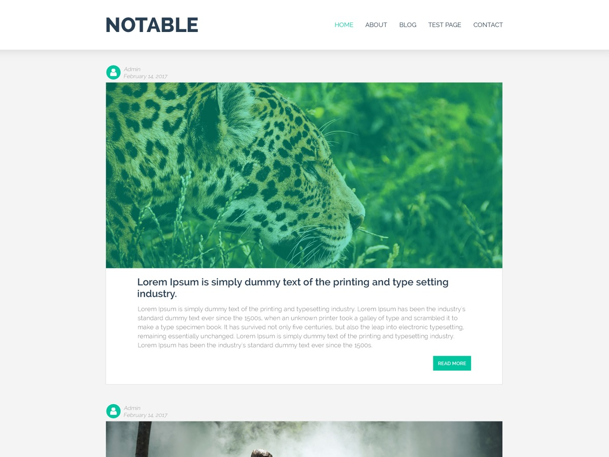 Notable free website theme