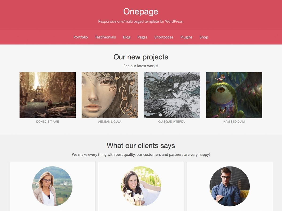 OnePage free WordPress theme