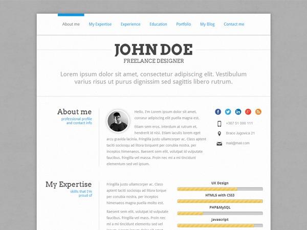 PerfectCV WordPress blog template