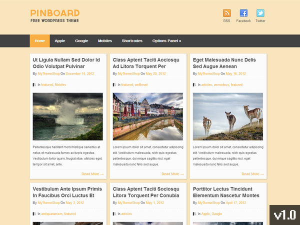 Pinboard WordPress shopping theme