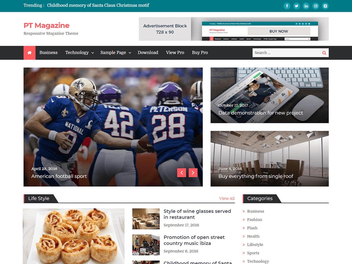 PT Magazine newspaper WordPress theme