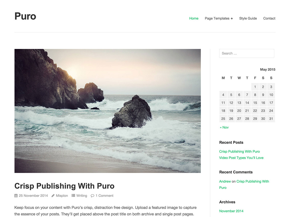 Puro WordPress template free download
