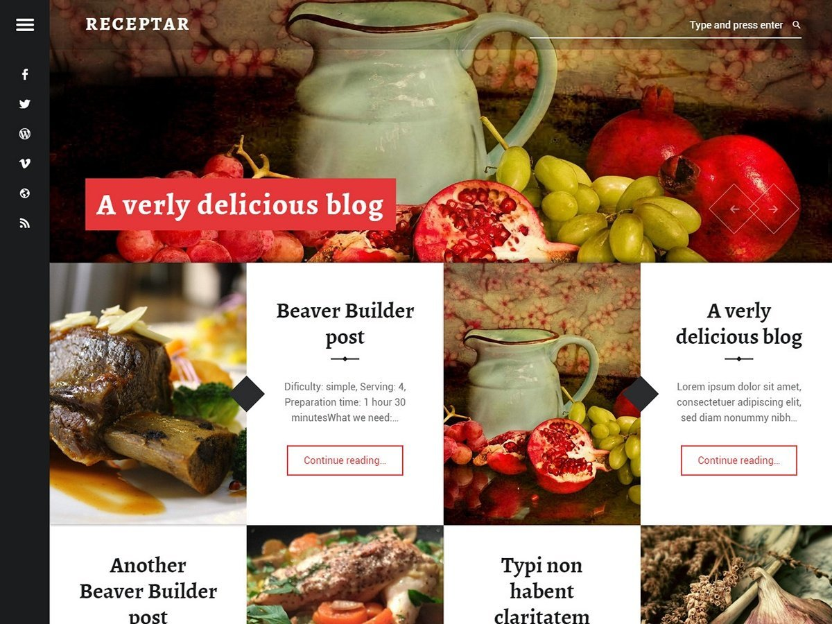 Receptar WordPress theme download