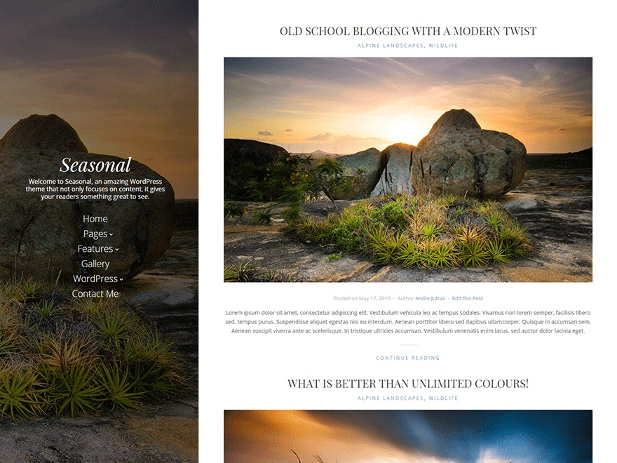 Seasonal WordPress template free