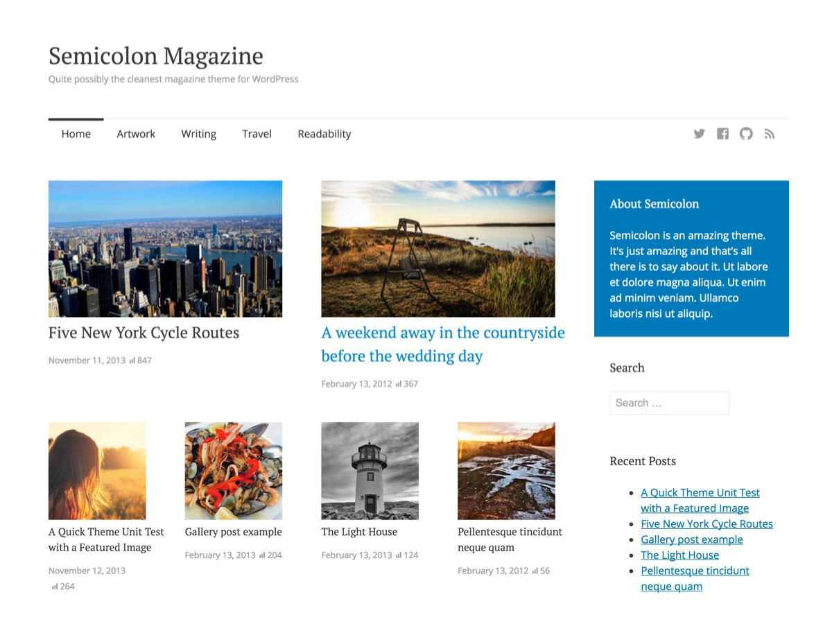 Semicolon free website theme