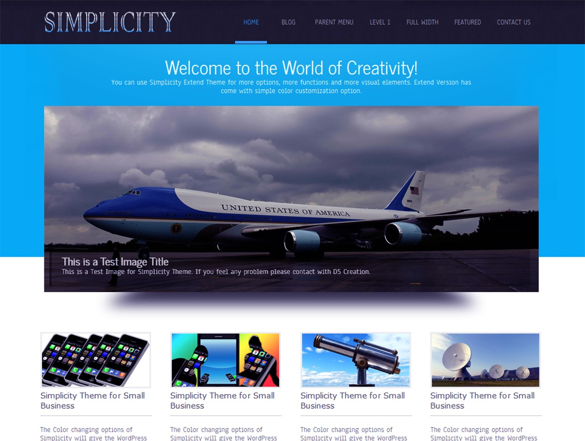 Simplicity Lite WordPress template for business