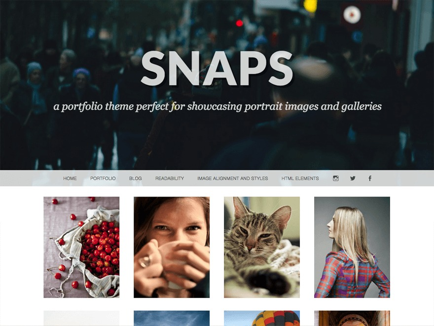 Snaps WordPress portfolio template