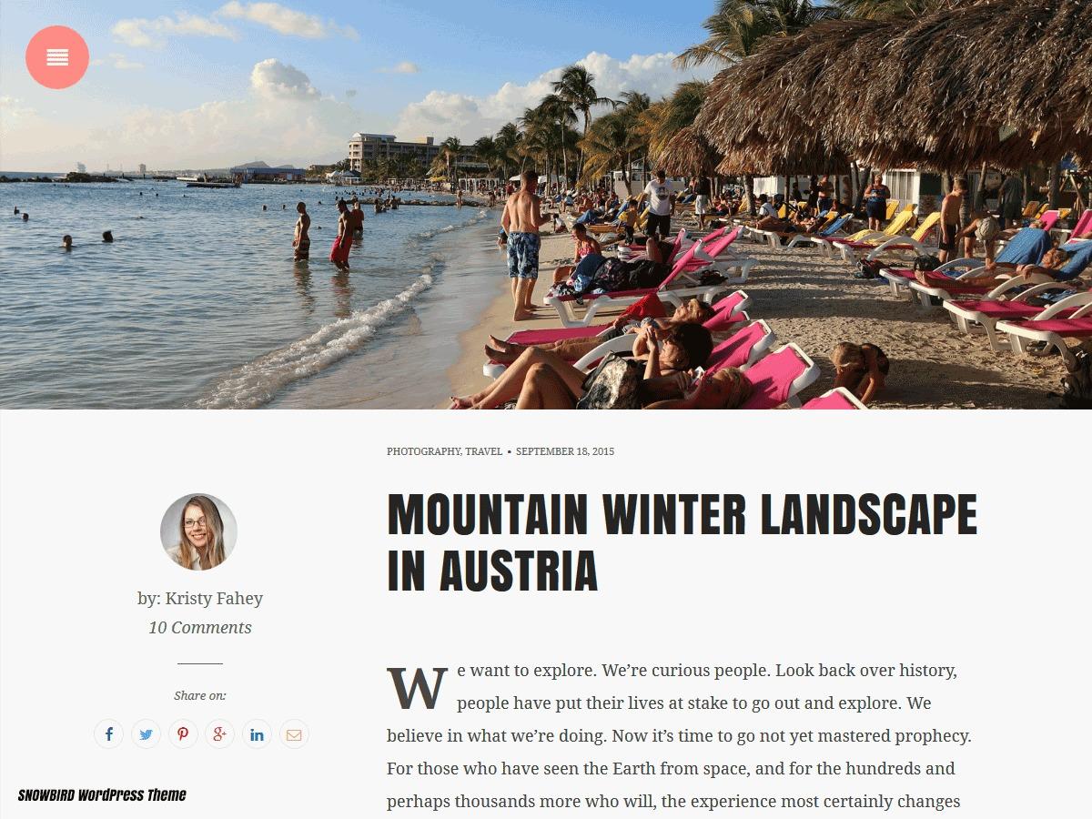 Snowbird WordPress blog theme