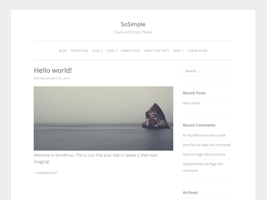 SoSimple WordPress theme free download