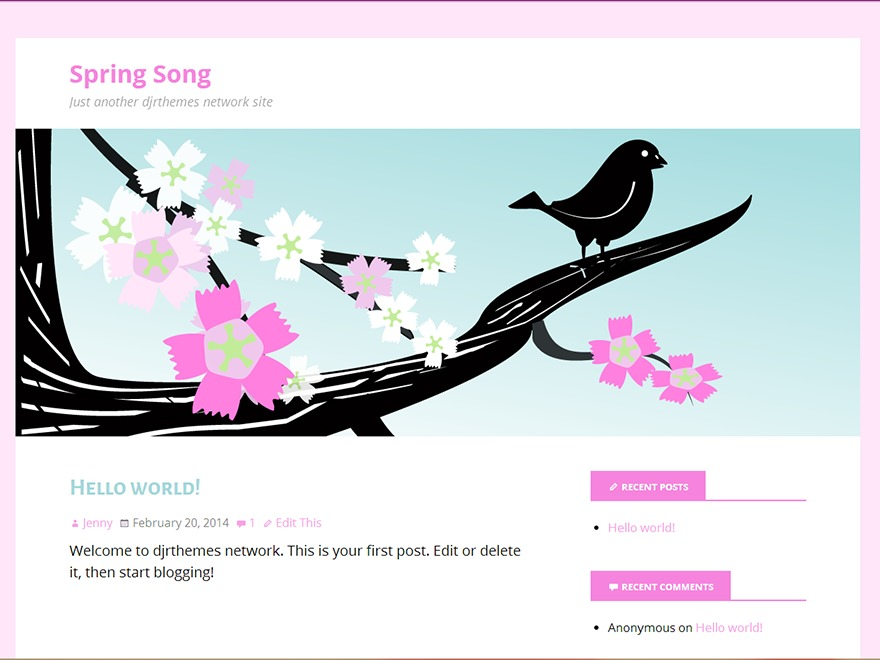 Spring Song free WordPress theme