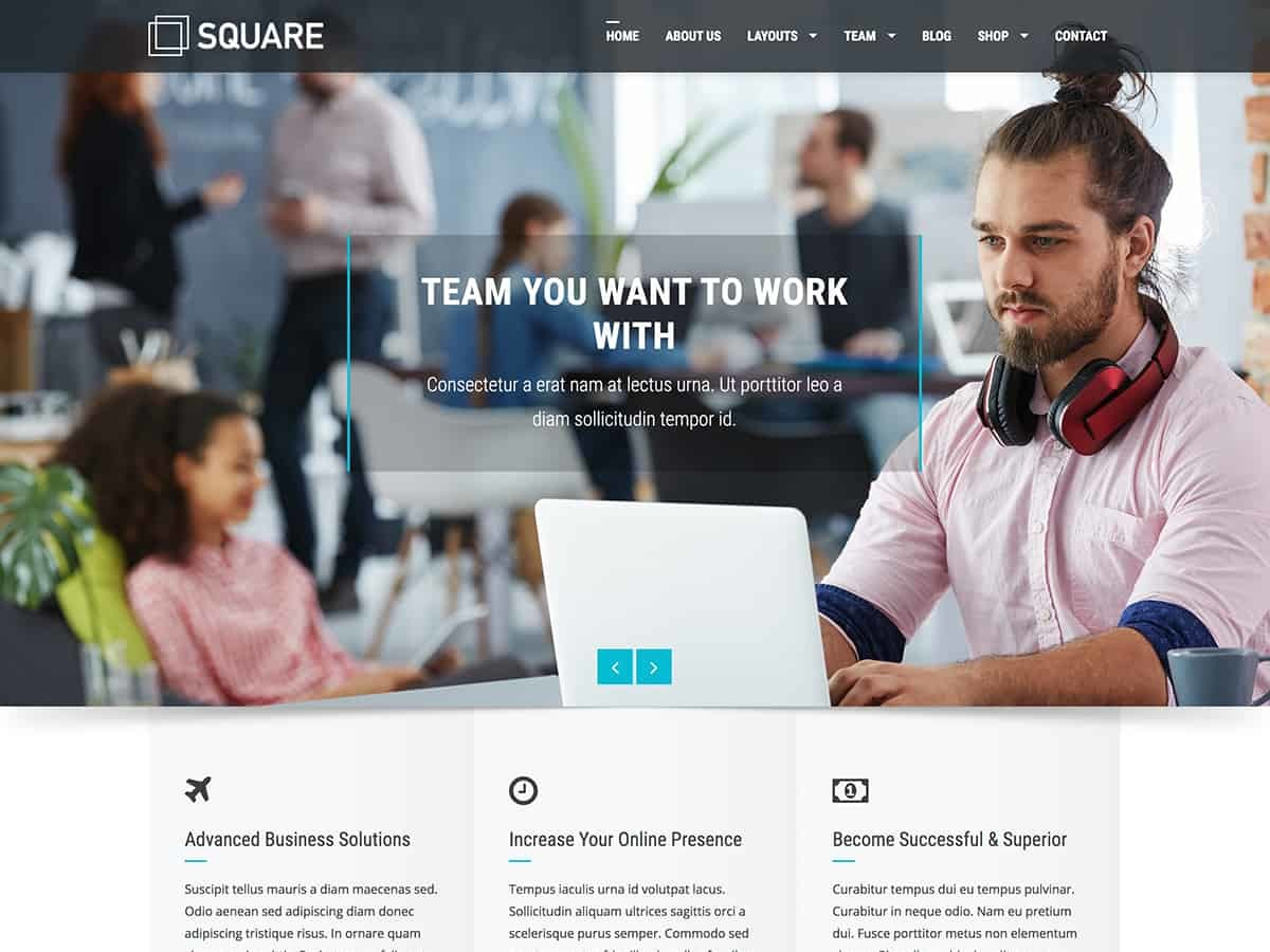 Square WordPress blog template