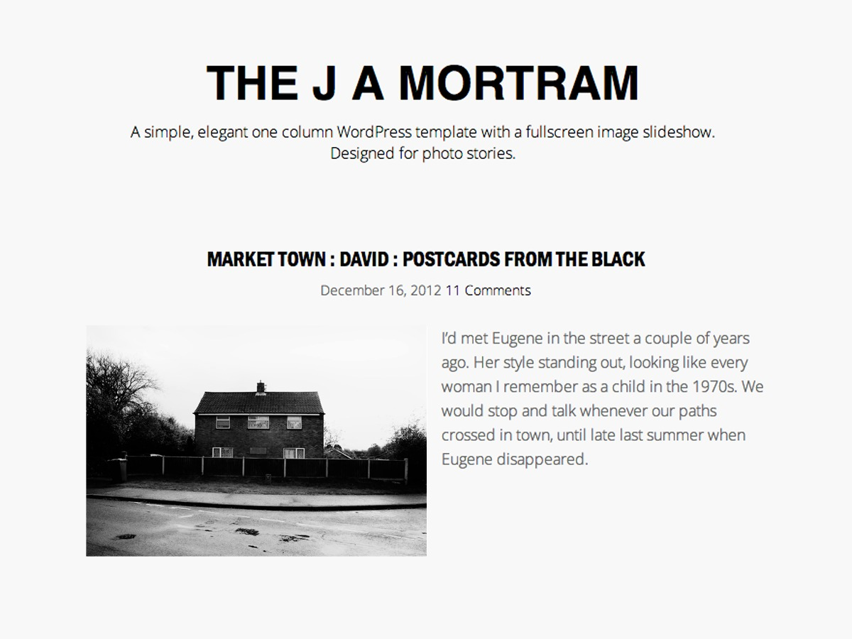 The J A Mortram free WordPress theme