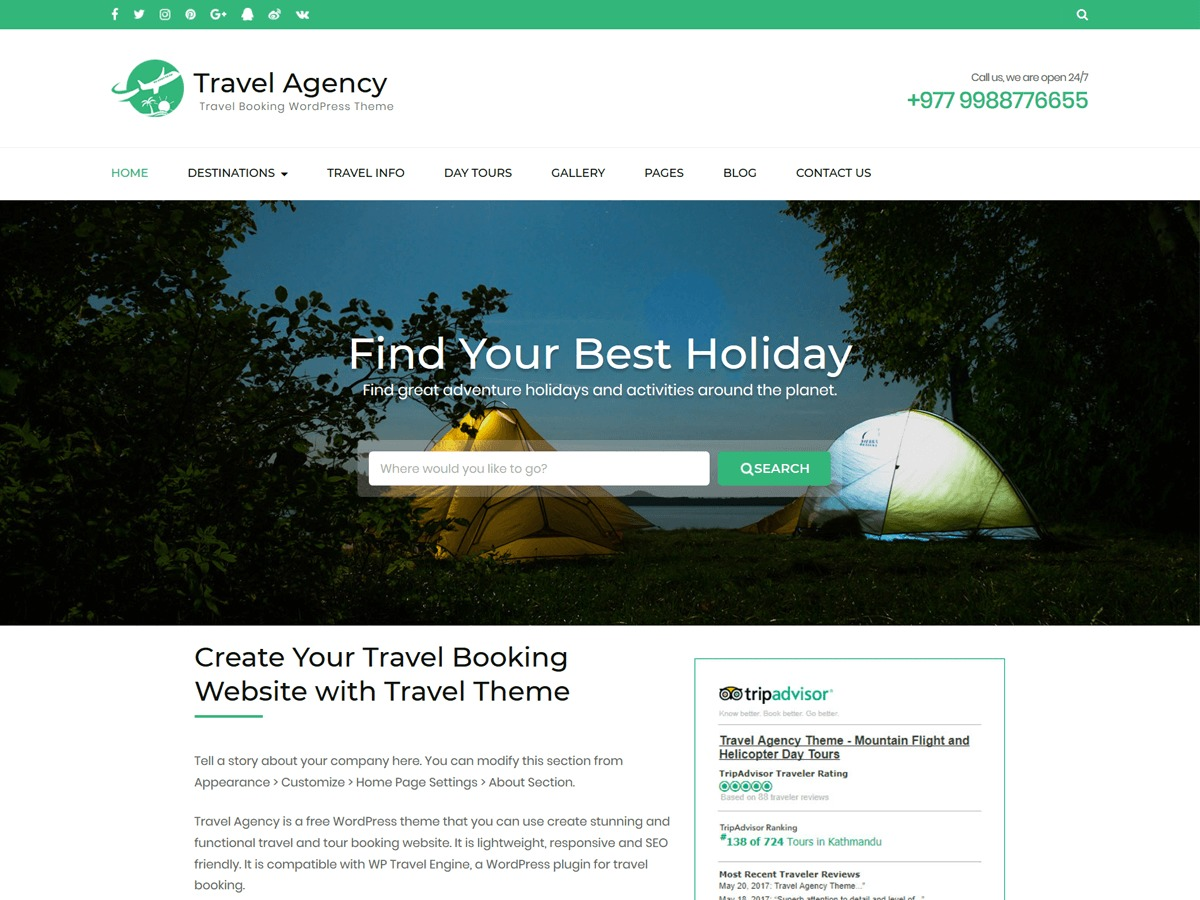 Travel Agency WordPress template free download