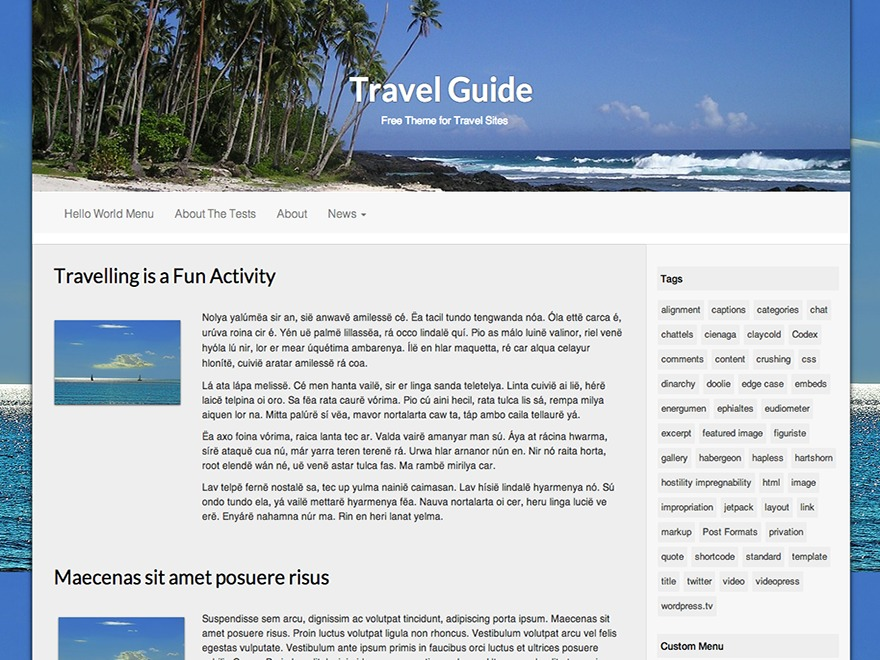 Travel Guide WordPress travel theme