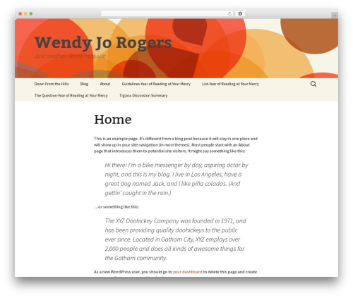 Twenty Thirteen best free WordPress theme - wendyjorogers.com