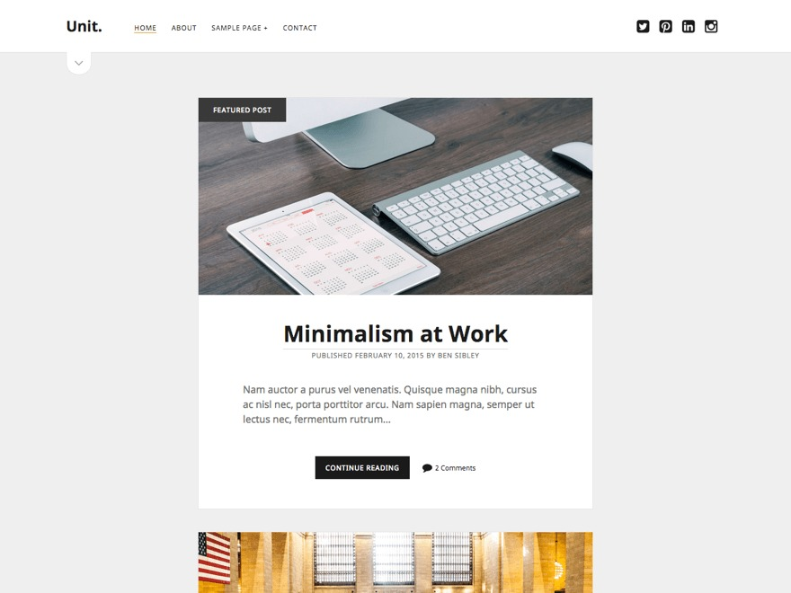 Unit WordPress blog template