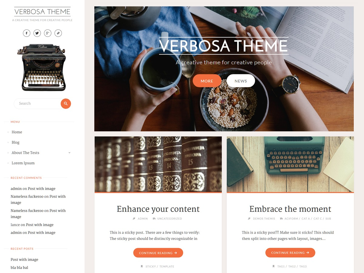 Verbosa free WordPress theme