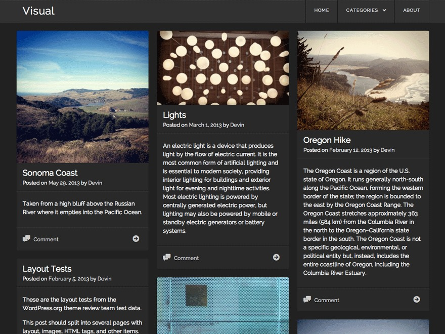 Visual theme WordPress free