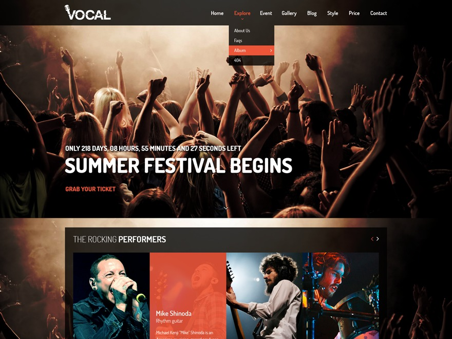 vocal WordPress page template