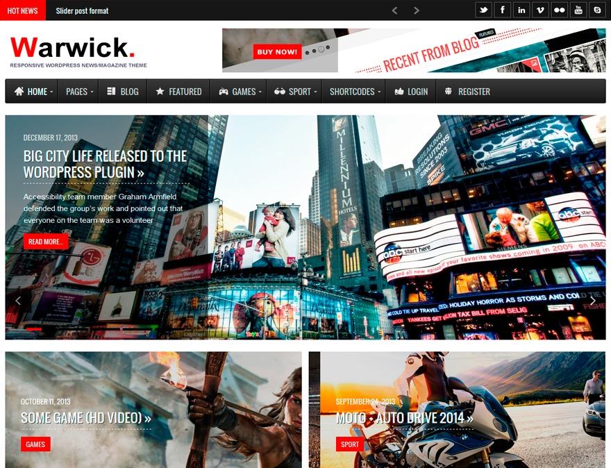 Warwick WordPress news template