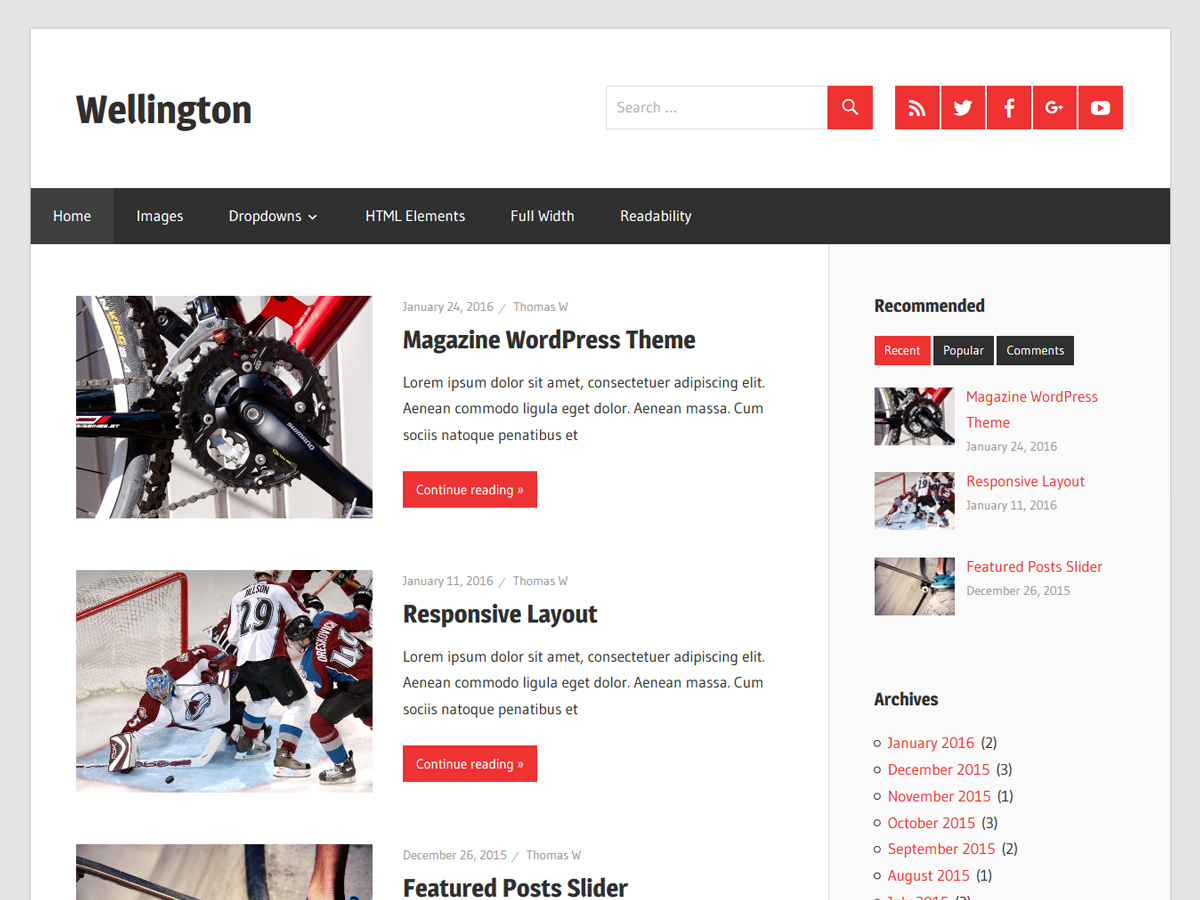 Wellington newspaper WordPress theme