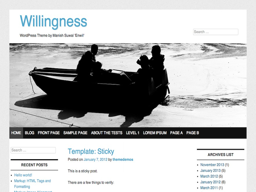 willingness free WP theme