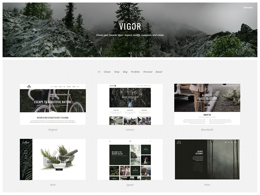 WordPress template Vigor Child