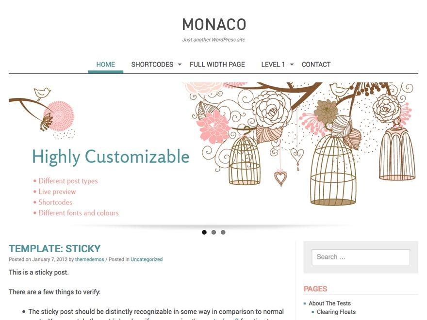 WordPress theme Monaco