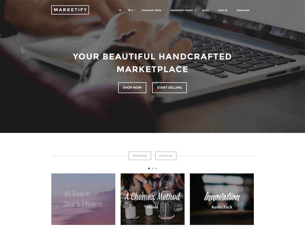 WordPress website template Marketify