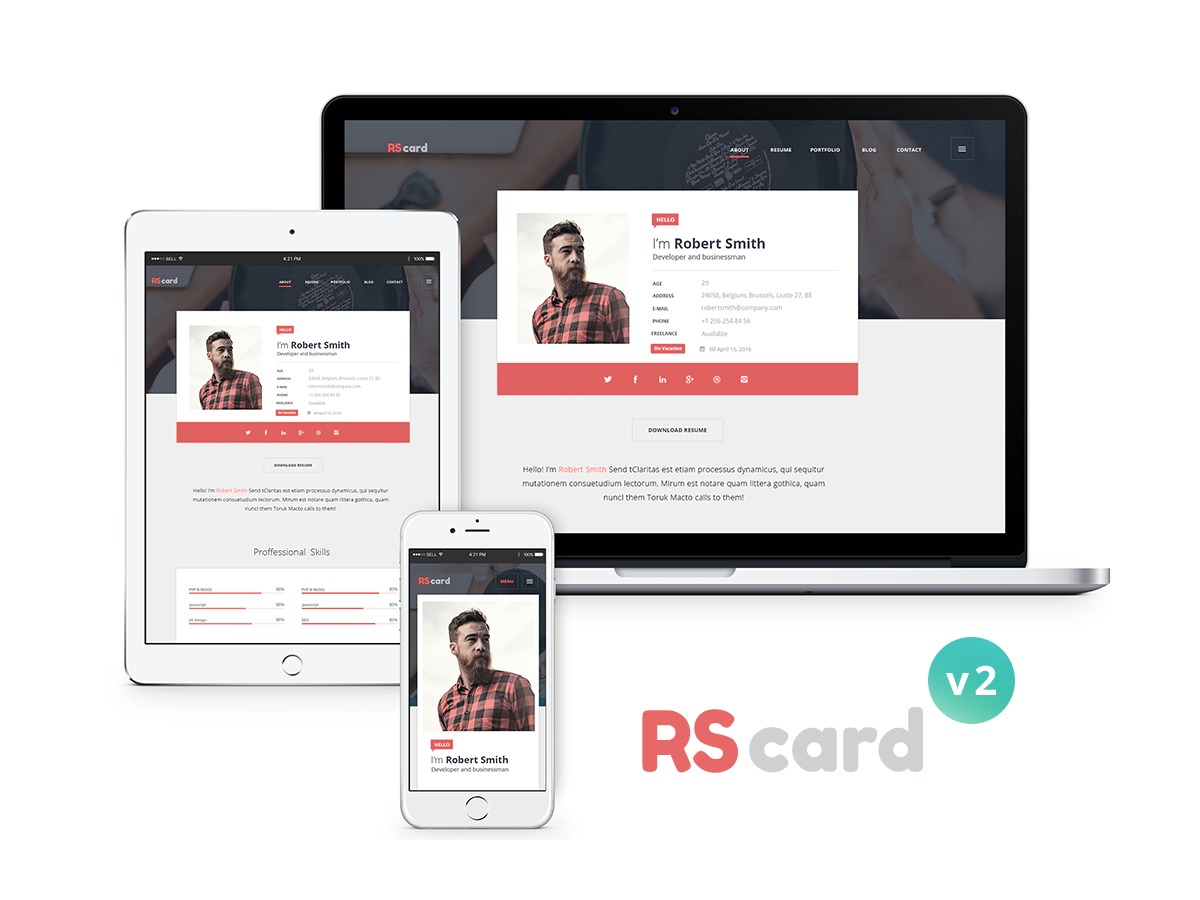 WordPress website template Rs Card