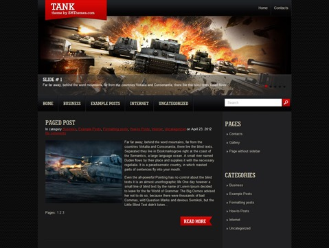 WordPress website template Tank