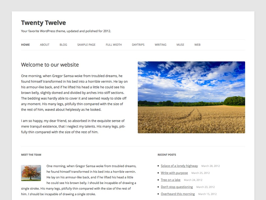 WordPress website template Twenty Twelve