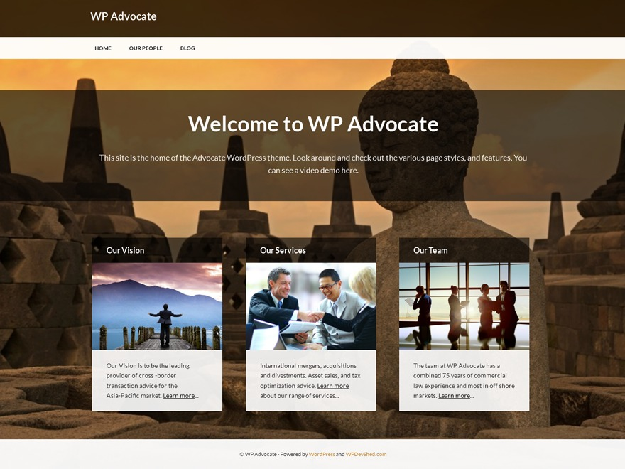WP Advocate WordPress template for business