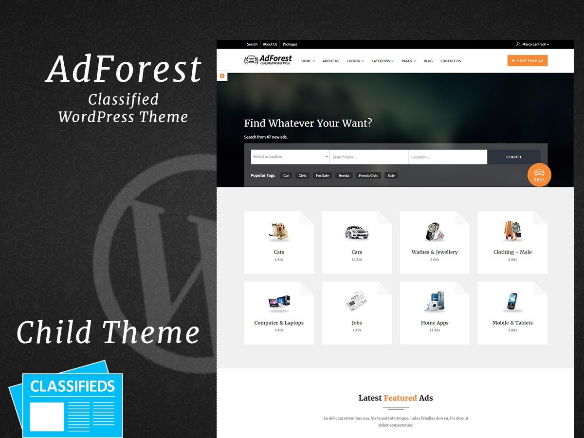 adforest child company WordPress theme