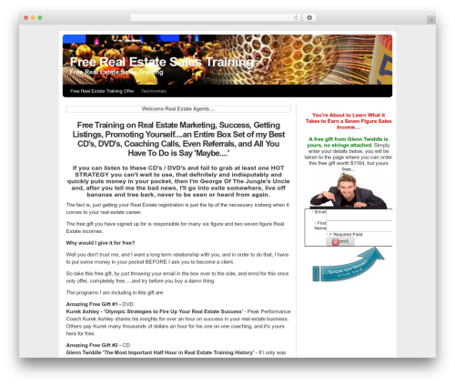 MarketerCMS WordPress theme design - freerealestatesalestraining.com