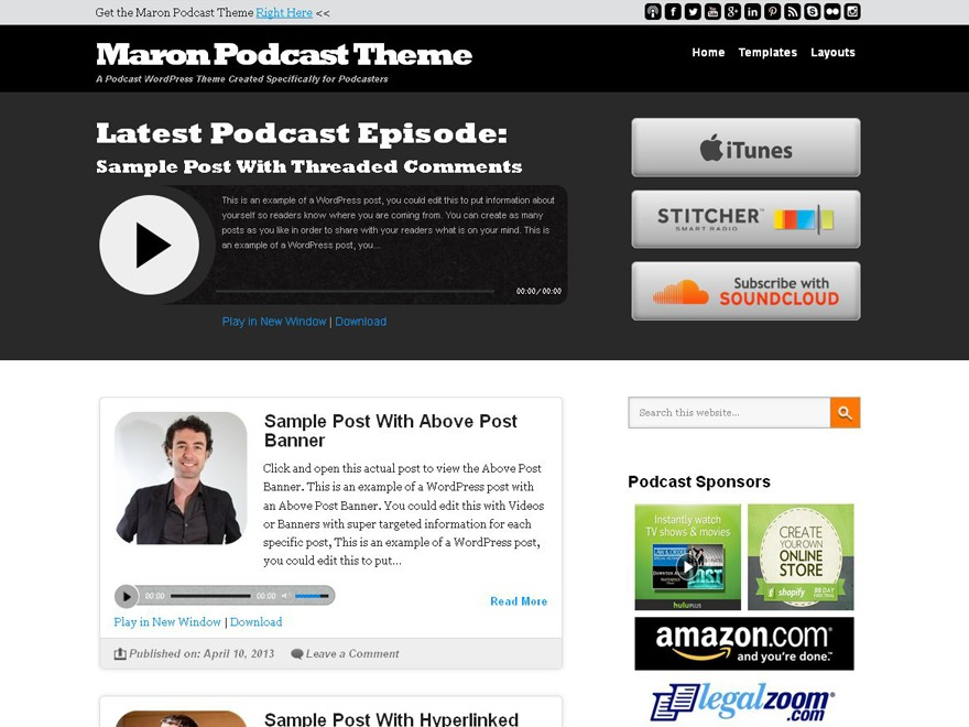 Template WordPress Maron Podcast Child Theme by Appendipity