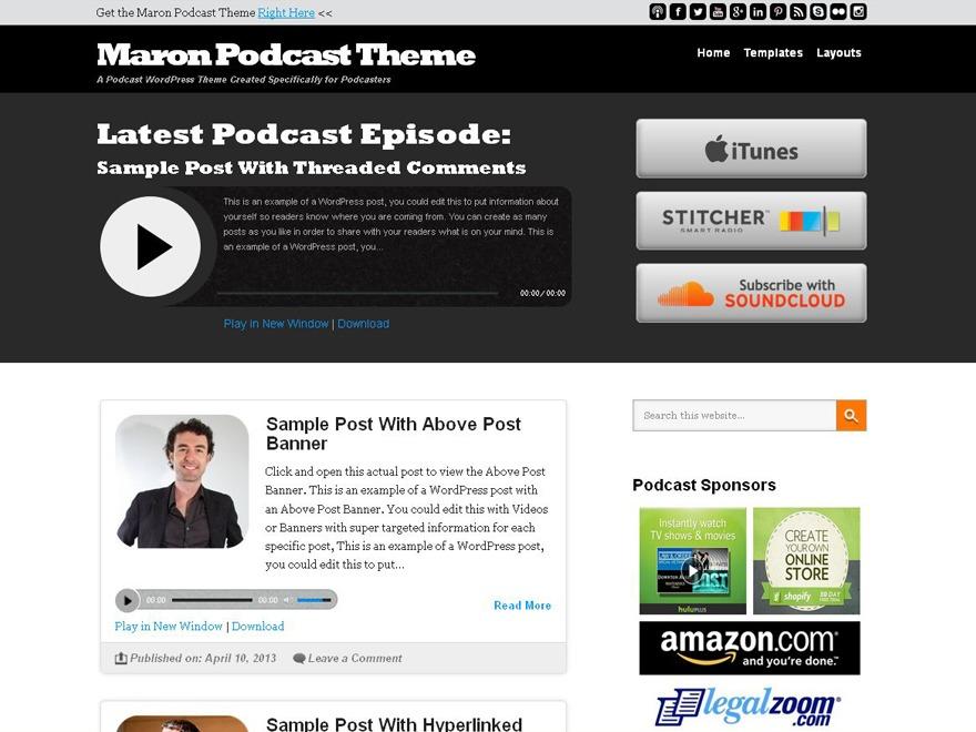 Template WordPress Maron Podcast Child Theme