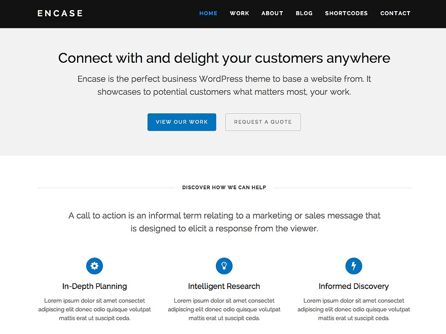 Encase WordPress portfolio template
