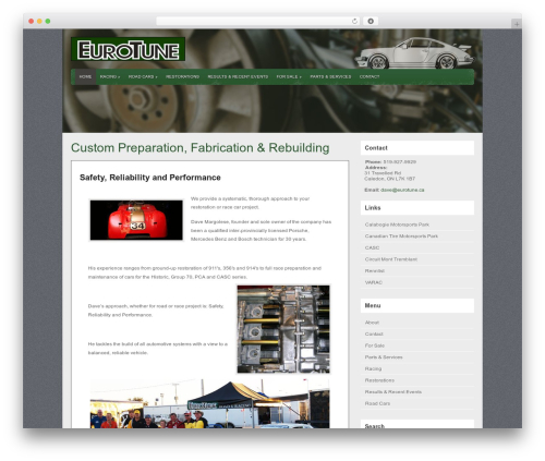 WordPress website template Gears - eurotune.ca